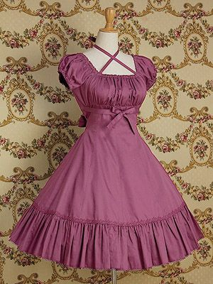 Dress #lolita #purple  This is a great example of the MM tailored waist and high ribbon belt I love so much.
