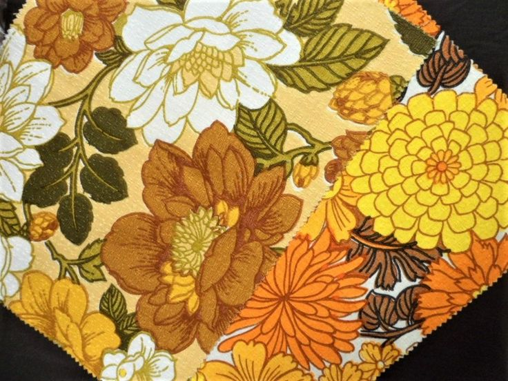 Vintage Fabric Sample Pair Mid Century Curtain Remnant Orange Yellow Floral
