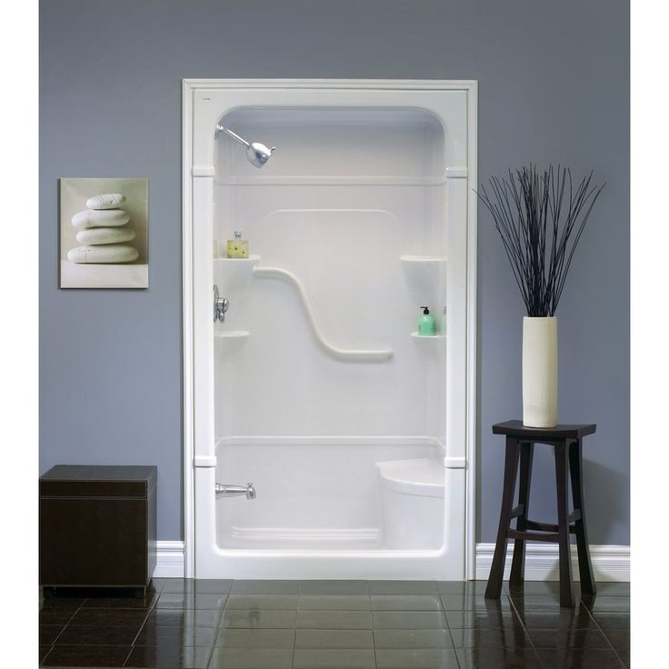 Maybe for the basement? Mirolin 50-in W x 34-1/4-in L Madison White Alcove Shower Kit | Lowe's Canada