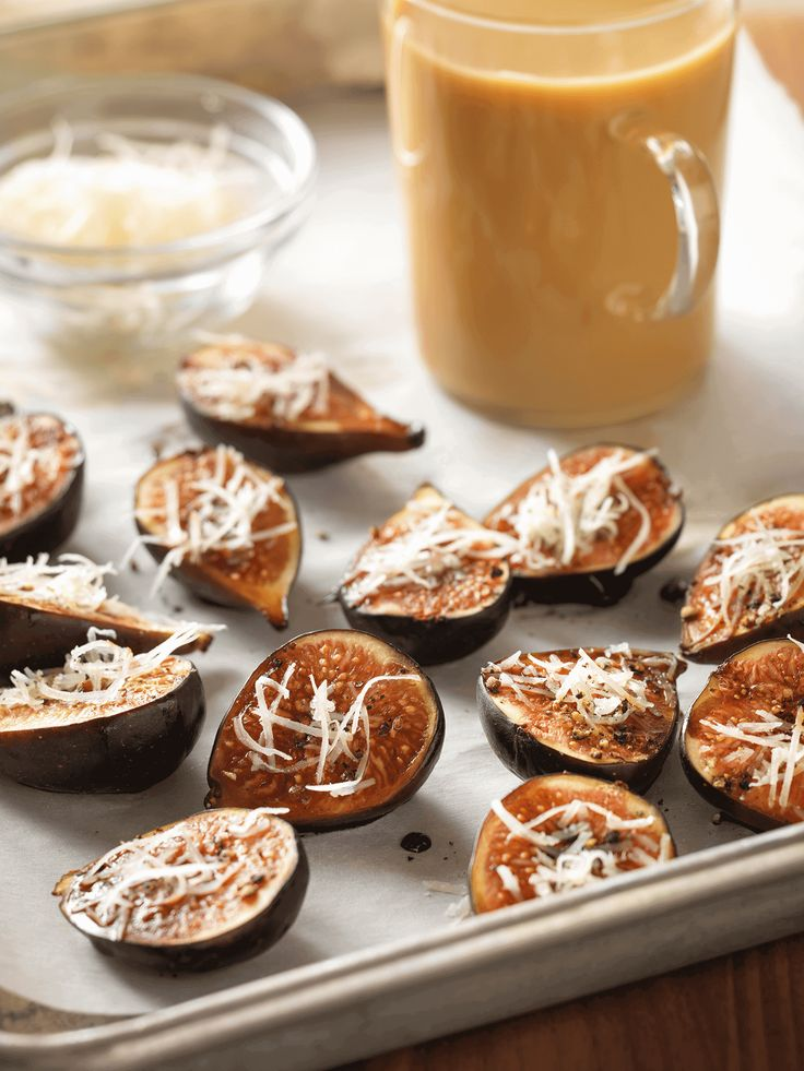 Padma Lakshmi's Baked Figs with Manchego Cheese: Sweet figs and melted manchego give this simple fruit and cheese course a sense of sophistication. Serve them with a chai latte for the perfect follow up to a delicious meal. Click through for this  recipe and more delicious chai latte pairings.
