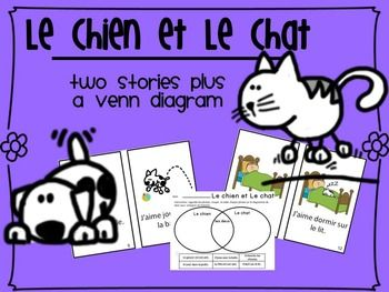 Two French readers. One about a cat, one about a dog, and a Venn Diagram to use to compare the two stories.