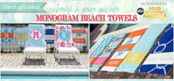 Monogrammed Beach Towels, Custom Personalized Towels for the Beach, Lake, or Pool as seen on Good Morning America- Personalized Gifts and Home Decor, Monogram Beach Towels for a Bridesmaids Gift or Destination Beach Wedding | LipstickShades.com