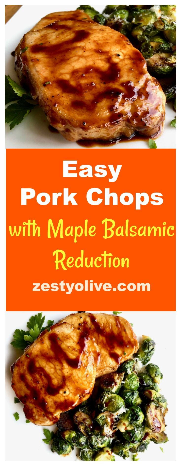 Have this easy skillet Pork Chops with Maple Balsamic Reduction on the table in under 30 minutes. Perfect for a weeknight meal. #recipes #food #cooking #porkchops #balsamic #mealplan #easyrecipes