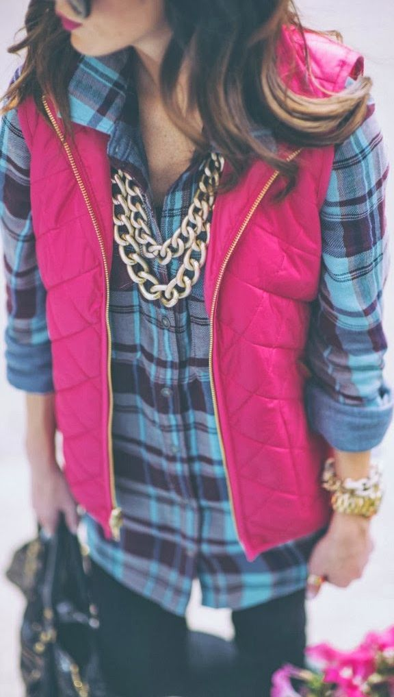 pink puffy vest + flannel shirt