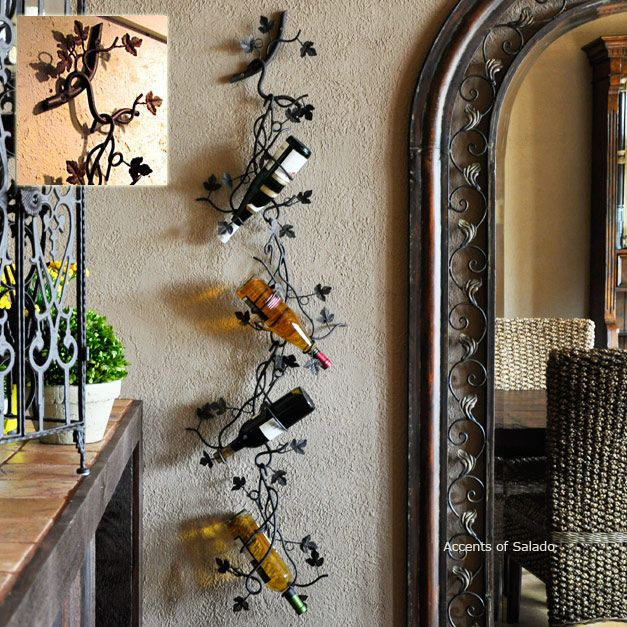 Selection of Wine Racks, Wall mounted iron wine rack for French, Italian, Mediterranean Old World Decorating