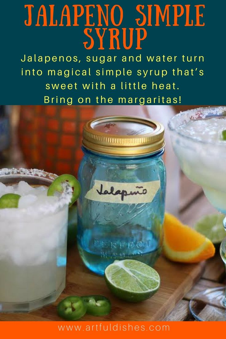 Jalapeno simple syrup is the key to amazing margaritas! Jalapenos, sugar and water turn into simple syrup that's sweet with a little heat.    www.artfuldishes.com via @https://www.pinterest.com/artfuldishes/
