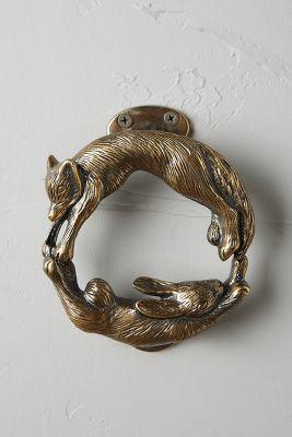 Anthropologie Forest Friendship Doorknocker, woodland, folk, fox, rabbit, bronze, brass, boho, bohemian