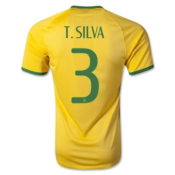 brazil 2014 t. silva authentic home soccer jersey top thai quality 17 18 world cup
