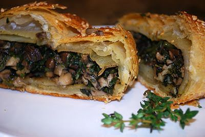 MUshroom Wellington.. Vegan Version.. would need to find a soy free puff pastry