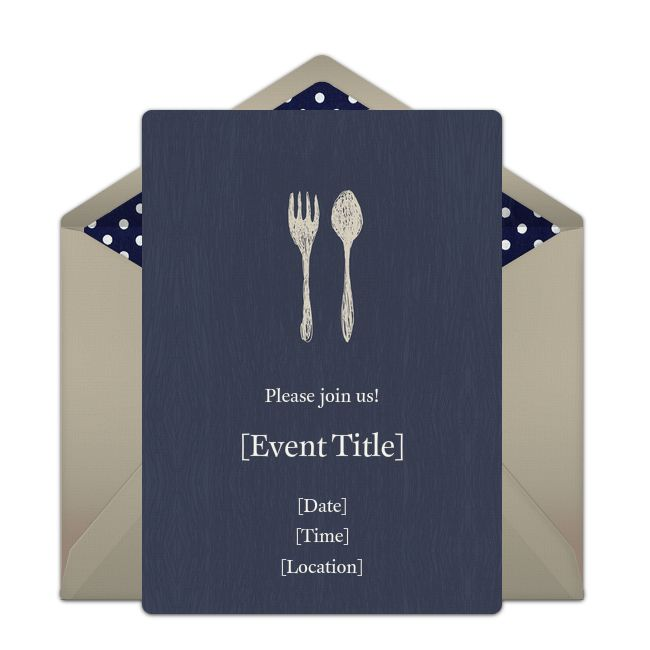 Customizable, free Fork & Spoon online invitations. Easy to personalize and send for a dinner party. #punchbowl