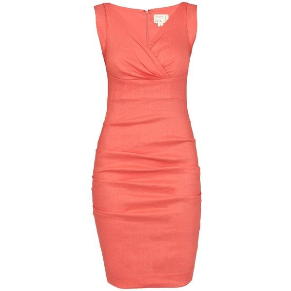 NICOLE MILLER V Neck Tucked Dress ($410) ❤ liked on Polyvore featuring dresses, vestidos, flamingo, structured dress, linen dress, nicole miller, nicole miller dresses and ruching dress