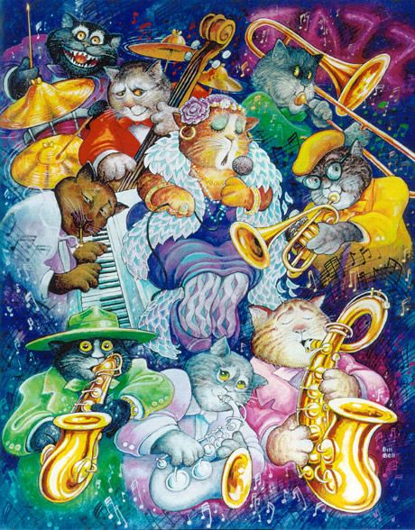 Jazz Cats by Bill Bell ~ whimsical music themed art