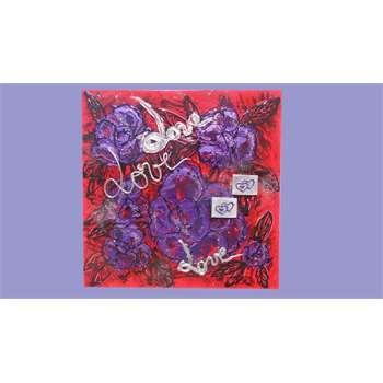 Quadri Astratti Moderni Materico su tela. Il rosso intenso abbinato al viola dei fiori astratti in rilievo. Strati di colore formano una composizione di rose sovrapposte da scritte. Dim 70x70