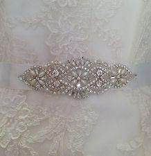 Bridal Wedding Dress Belt Sash Pearl And Crystal Sparkle Satin Ribbon Sash Tie