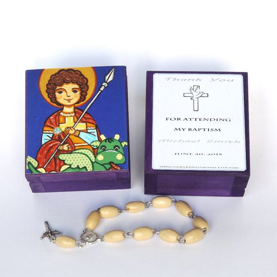 St George box Saint George box Personalized christening gifts for boys Baptism favors for boys First communion favors Christening favors