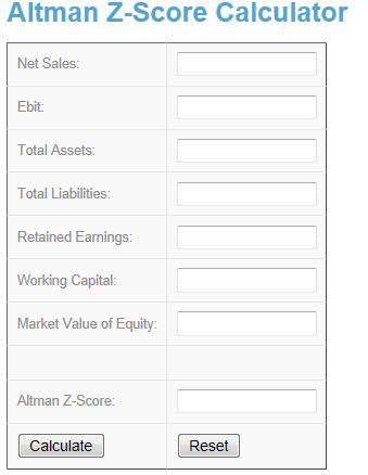 Free online Altman Z-Score Calculator at http://www.investingcalculator.org/altman-z-score-calculator.html