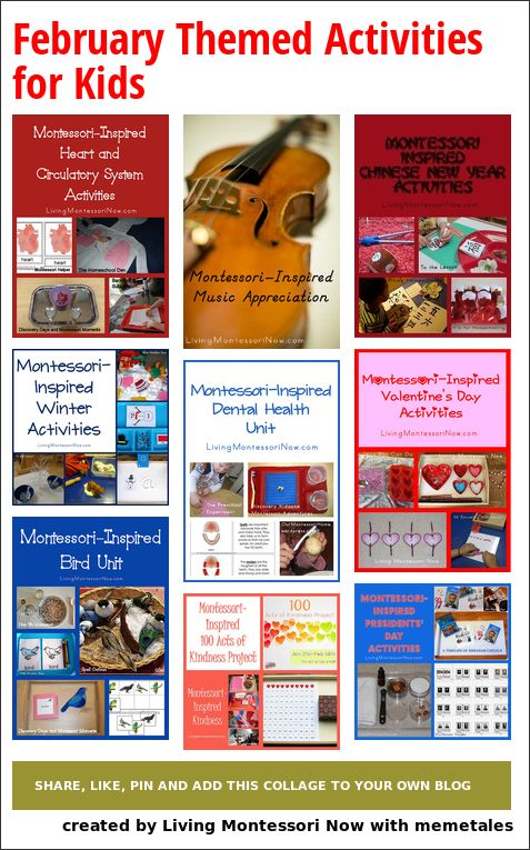 Calendar observances and Montessori-inspired unit studies and activities throughout February