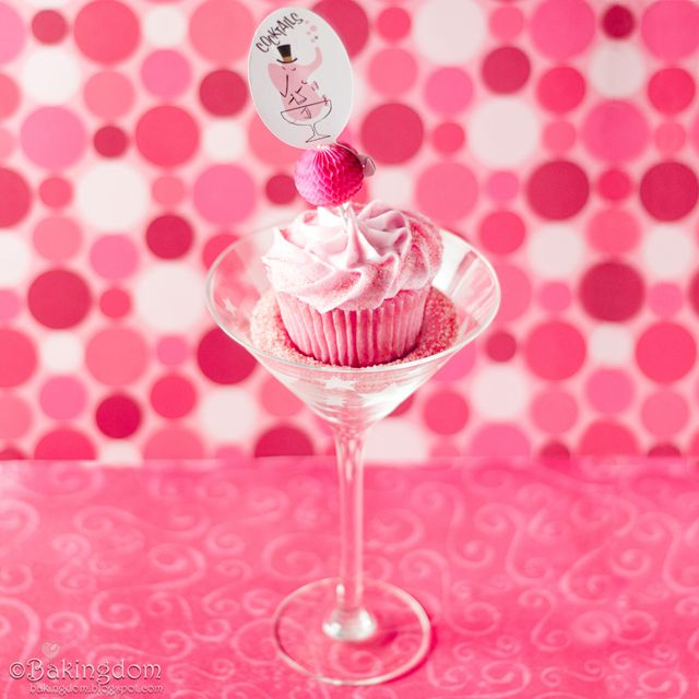 Cosmo cupcakes! I think it'd be fun to turn these into bubblegum cupcakes & use Three Olives Bubble in the icing.