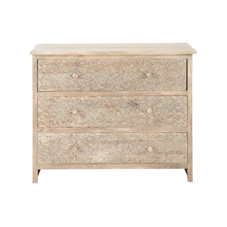 Carved solid mango wood chest of drawers W 100cm Himalaya