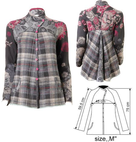 IVKO Woman`s Floral Tartan Wool Jacket Style 42604-018 in GREY