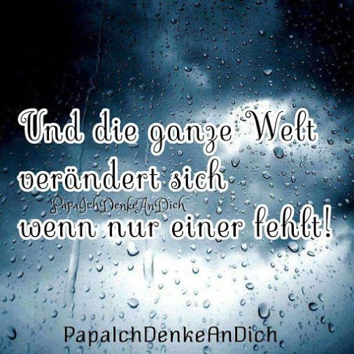 Und die ganze Welt ändert sich, wenn nur einer fehlt!  #Trauer #Trauerspruch #Tod #Sterben #vermissen #Verlust #Lebenohnedich #Unvergessen #Traurig #Papaichdenkeandich #dufehlstmir #fürimmer