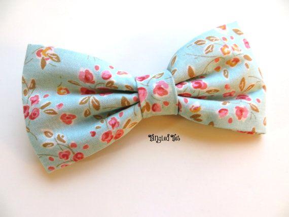 Menthe avec noeud Floral rose menthe noeud papillon cravates