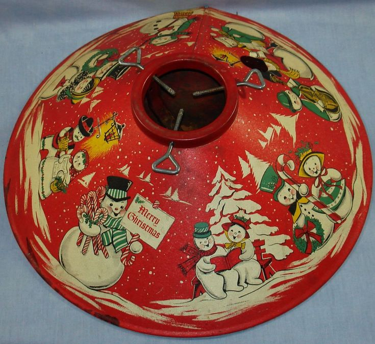 VINTAGE 1950S COLORAMIC CHRISTMAS TREE STAND SNOWMAN  ... Had one when I was a kid...