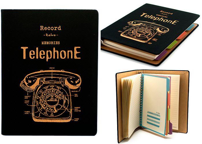 """Черный блокнот-органайзер """"Telephone"""", серия """"Retro"""" - Магазин Купи в Дом"""