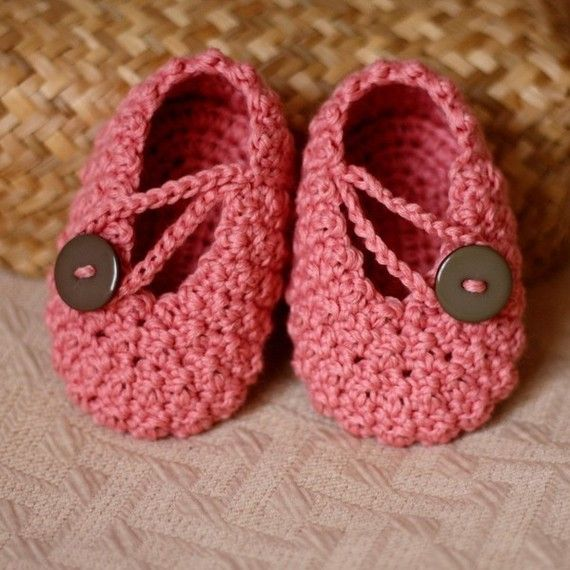 Instant download - Baby Booties Crochet PATTERN (pdf file) - Pretty in Pink Baby Booties