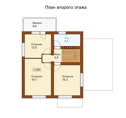 План второго этажа проекта I-136-1P