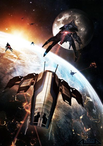Dangerous Game by A-lichka.deviantart.com on @DeviantArt Mass Effect 3: The Normandy chased by Reapers during the final assault on Earth