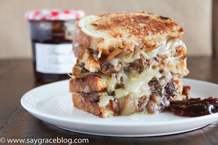 Grilled Cheese & Smoked Pulled Beef With Plum Jelly for Dipping