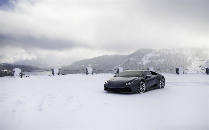 Lamborghini Huracan, sports coupe, supercar, black Huracan, winter, snow, winter riding, VAG, Lamborghini