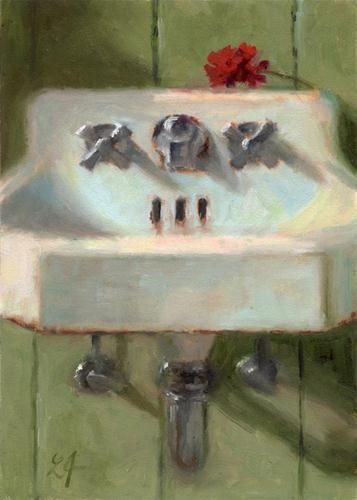 """""""Cottage Sink"""" - Original Fine Art for Sale - © Linda Jacobus"""