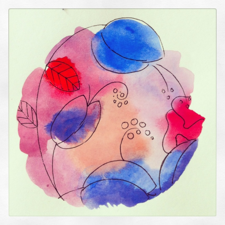 Blue tulips in watercolor