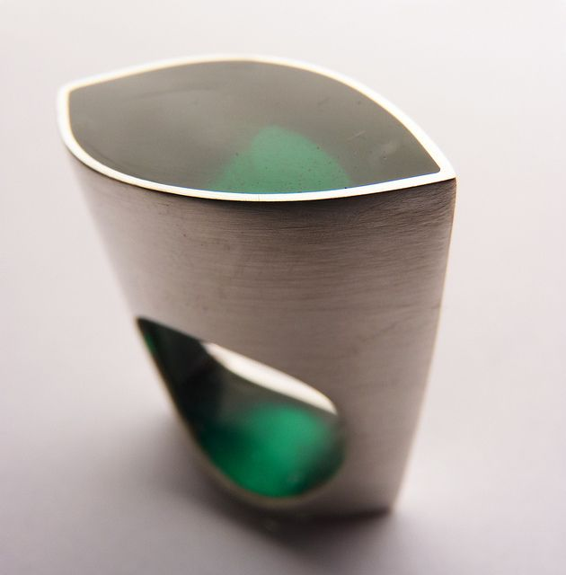 Ring | Vania Ruiz.  Sterling silver and coloured resin.