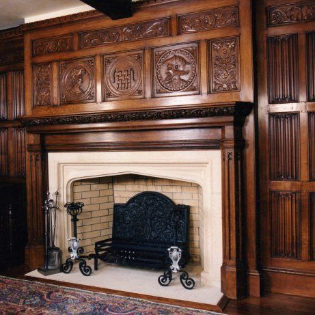 Renaissance overmantle hand carved in oak with linenfold for Tudor style fireplace