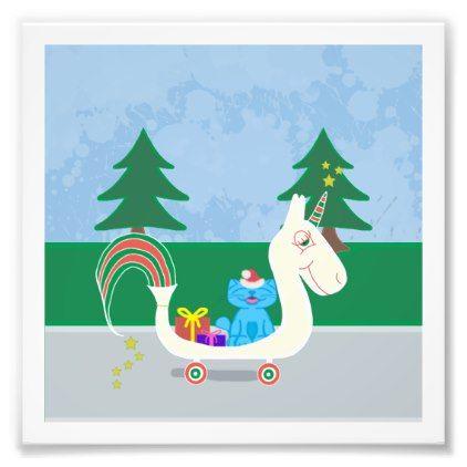Milo Rides A Christmas Unicorn Photo Print - fun gifts funny diy customize personal