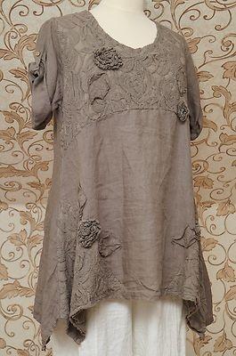 Gorgeous Mocha Brown Linen Tunic Very Quirky Design Italian Lagenlook Top OSFA | eBay