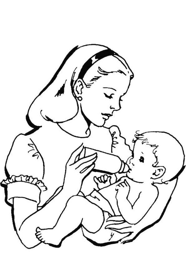Une maman qui donne du biberon son b b coloriage pour for Tapir coloring page