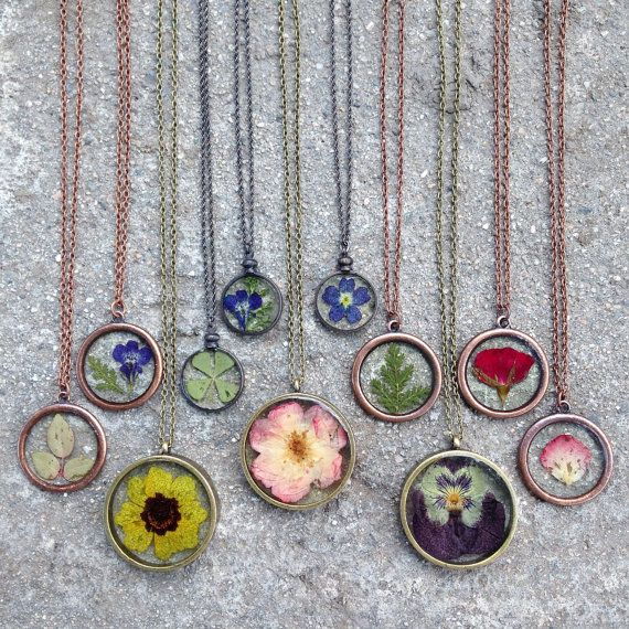 Pressed Flower Necklace by HerMadeUpWorld on Etsy                                                                                                                                                                                 More