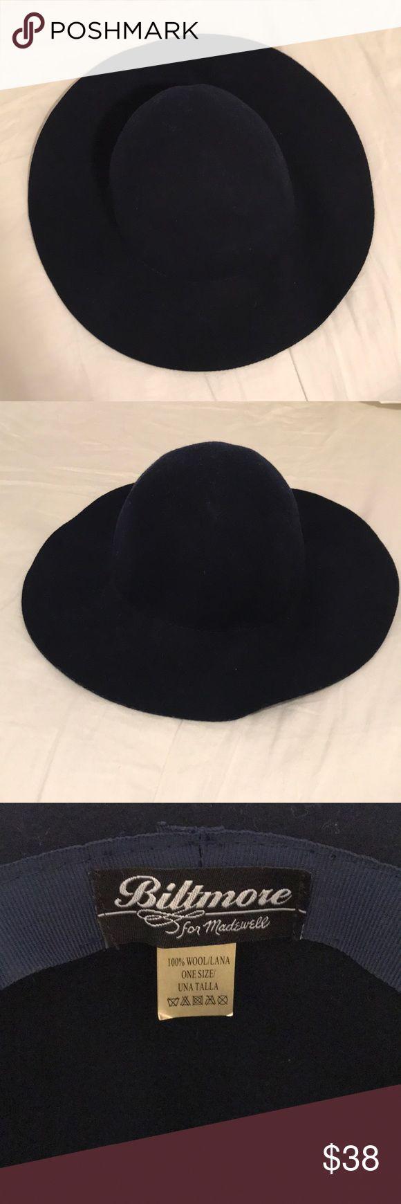 "Madewell x Biltmore hat Navy floppy brim hat, Biltmore for Madewell. Brim: 3"" Circumference: 23"" Madewell Accessories Hats"