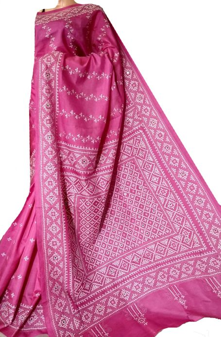 c3fd602d485 Pink Hand Embroidered Kantha Pure Silk Saree  kanthasilksaree