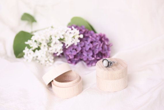 set of two wooden ring boxes wedding proposal engagement gift unfinished ring bearer round shabby rustic props his & hers ideas inspiration