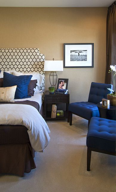 Sample navy blue and brown bedroom at an EYA townhome in Washington, DC. Learn more about EYA at http://www.EYA.com.