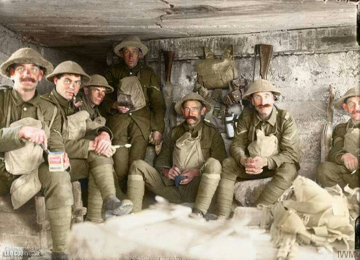 100 Years ago today ......  Men of the West Yorkshire Regiment sitting in a captured German pill box waiting to go into action, near the St Julien - Gravenstafel road during the Battle of Polygon Wood. 27 September 1917  (Photo source  © IWM Q 2903)  (Colorised by Leo Courvoisier) https://www.facebook.com/pages/Greetings-from-the-trenches/830845900362286?fref=nf