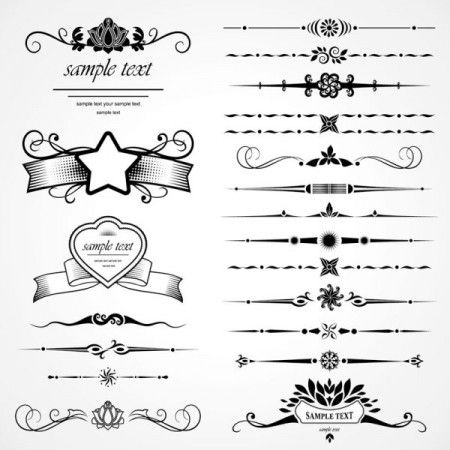 Decorative ornate patterns elements eps Vector 02 450x450 飾り罫が無料でダウンロード出来ます。4set(AI・EPS)   Free Style