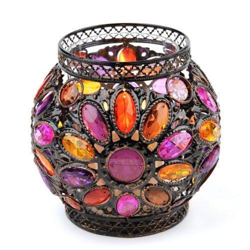 Pink & Orange Jeweled Candle Holder | Kirklands