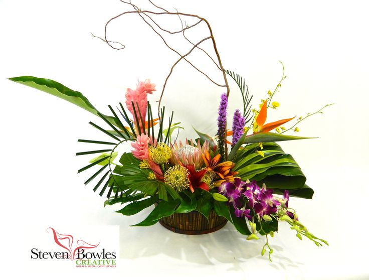 Tropical flower arrangement by steven bowles creative