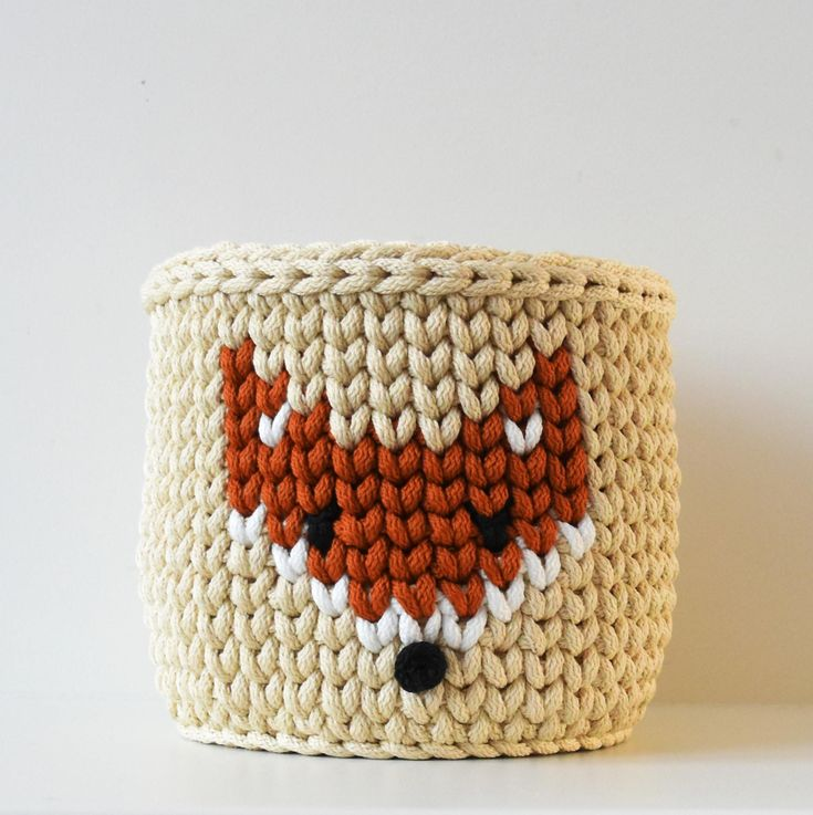 Crochet basket fox knitted squirrel fruit bowl desk organizer toy storage nursery decor Scandinavian Nordic style medium size beige brown by CrochetedVirvius on Etsy